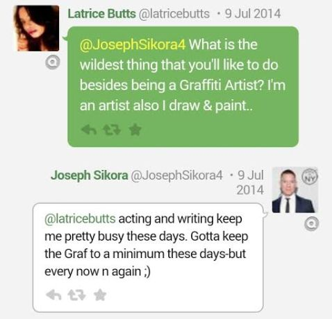 Latrice Butts And Joseph Sikora Tweets