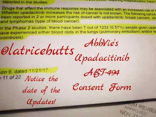 Latrice Butts info AbbVie's Upadacitinib - ABT - 494 Rheumatoid Study Medication